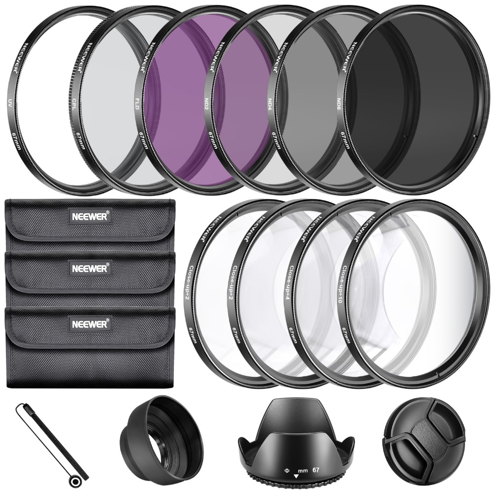 Neewer 67MM Complete Lens Filter Accessory Kit for 67MM Filter Size Lenses :UV CPL FLD Filter Set+Macro Close Up Set(+1+2+4+10) 52mm 67mm 72mm 77mm macro close up filter set 1 2 4 10 with pouch macro lens filter kit for canon dslr camera