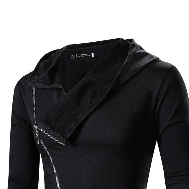 Men Hooded Jacket Black Gown Zipper Hoodie Sweatshirts Hip Hop Mantle Long Sleeves Wizard Cloak Solid Color Coats Outwear Cotton 3