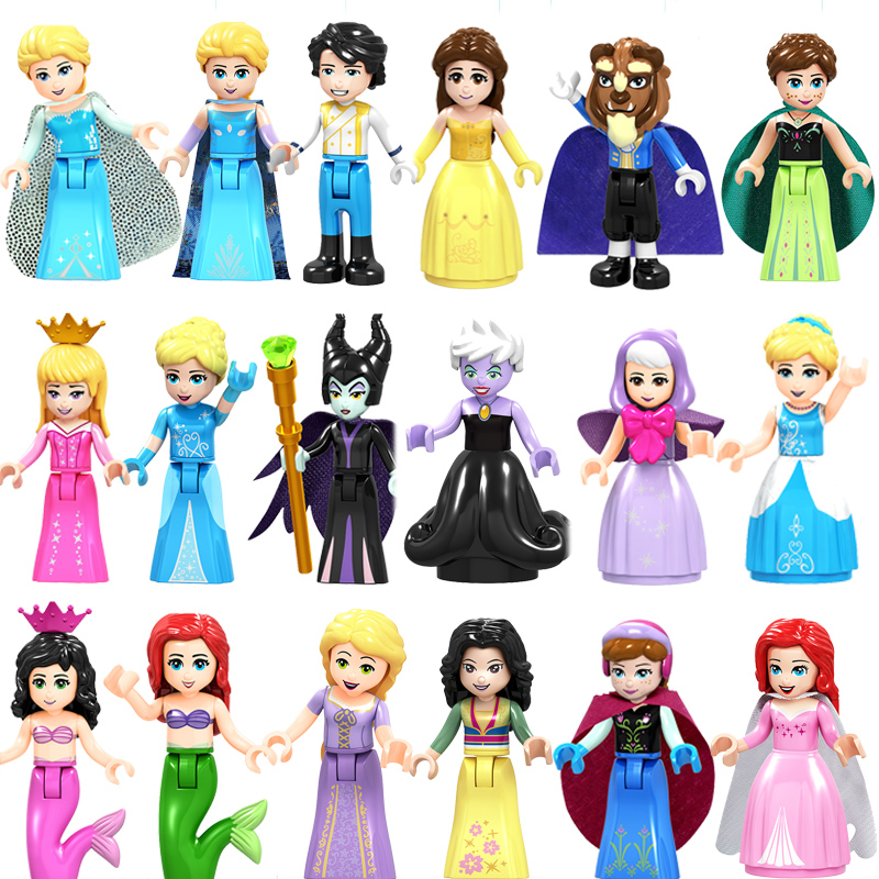 Flight Tracker Single Building Blocks Princess Girl Figure Snow World Series Alana Ariel Fairy Godmother Elsa Anna Elsa Action Toy For Children Model Building Blocks