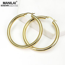 MANILAI Wide Stainless Steel Tube Hoop Earrings For Women Punk Statement Earrings Brincos Fashion Jewelry 55mm Diameter(China)