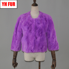2019 Hot Women Real Natural Rex Rabbit Fur Coat Short Style Warm Soft Rex Rabbit Fur Jacket Winter Real Rex Rabbit Fur Overcoat cheap Double-faced Fur Real Fur YH-FUR-42901 Thick (Winter) REGULAR Natural Color O-Neck Nine Quarter Covered Button Solid Casual