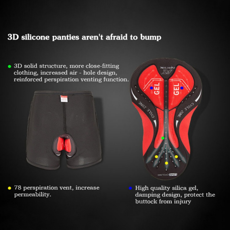 Mens Breathable Comfort Quick Wicking Cycling Shorts Cycling Shorts Mountain Riding Compression Tights 3D Silico Shorts