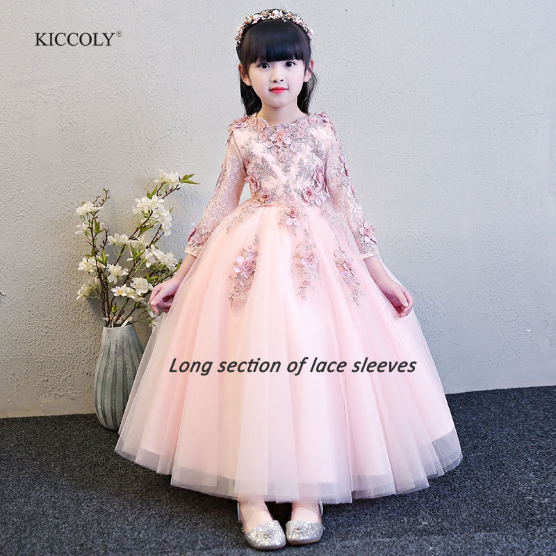 KICCOLY 2018 Custom New Elegant Girl Pink Lace Sleeve Dress Child First Communion Dress Baby Girl Formal Wedding Dress for 1-14T shein eyelet crochet lace detail frill trim dress 2018 summer round neck butterfly sleeve dress women pink elegant ruffle dress