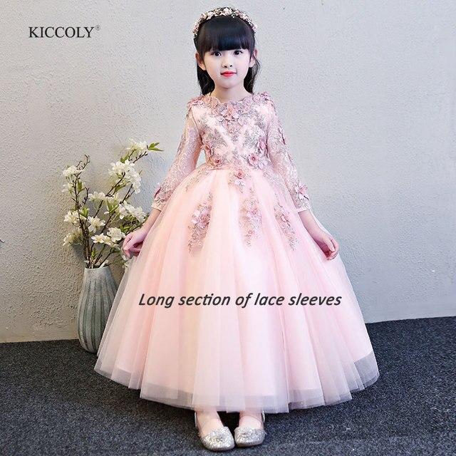 KICCOLY/Новинка 2018 года, элегантное розовое платье с кружевными рукавами для девочек, детское платье для первого причастия, торжественное свадебное платье для маленьких девочек, платье для От 1 до 14 лет
