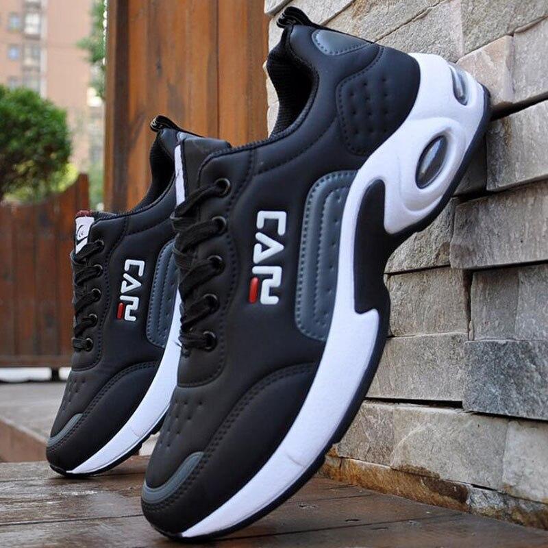 2019 nuevos zapatos casuales de Hombre Zapatos de almohadilla de absorción de impactos de viento de la Universidad zapatos antideslizantes de cuero de costura zapatos casuales de los hombres