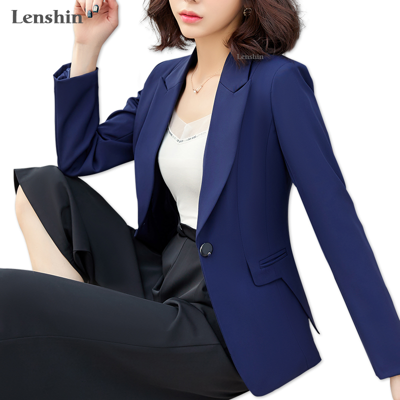 3072fdd7 US $24.83 11% OFF|Lenshin New Plus Size Professional Business Jacket for  Women Work Wear Office Lady Elegant Female Blazer Coat Top-in Blazers from  ...