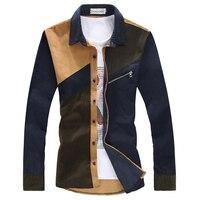 プラスサイズ3xlマンシャツ2017新しい秋コーデュロイファッションスタイルパッチワーク男