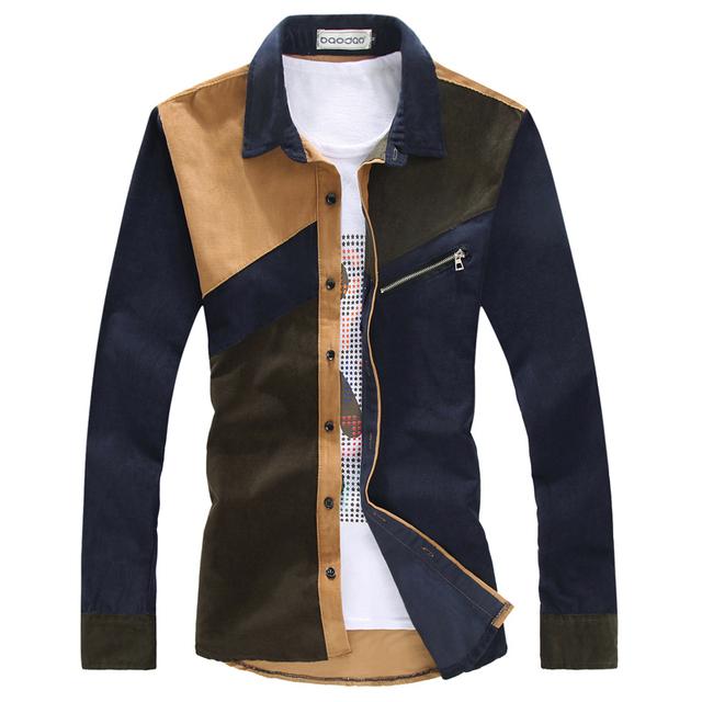 Más el Tamaño 2xl 4XL Camisas de Hombre Nuevo Otoño Vestidos de Pana remiendo de la manera de los hombres camisa camisa de los hombres de la marca de vestimenta casual clothing social