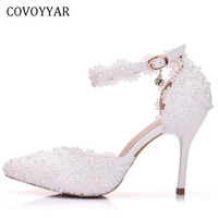 COVOYYAR 2018 Thin Heeled Women Wedding Shoes Lace Flower Ankle Strap Lady Pumps Party Bridal Shoes White/Pink WHH120