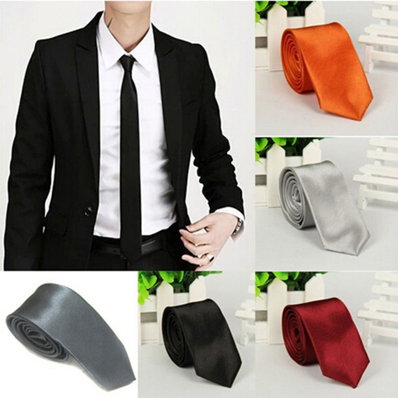 5 Colors  Casual Slim Plain Mens Solid Color Heigh Quality Skinny Neck Party Wedding Tie Silk Necktie 1pc