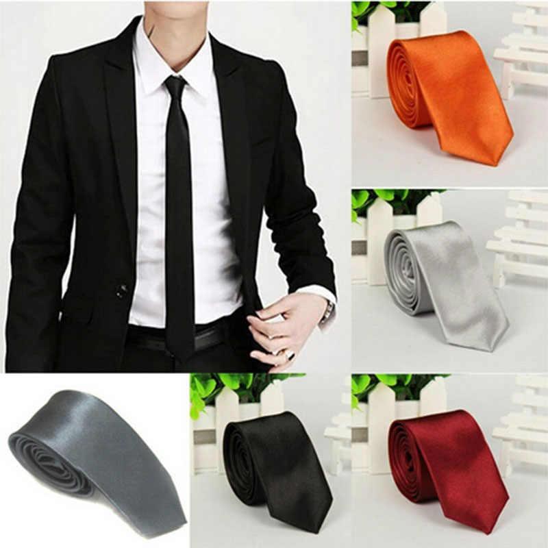 5 couleurs 2019 offre spéciale décontracté mince plaine hommes solide couleur haute qualité maigre cou fête mariage cravate soie cravate 1pc