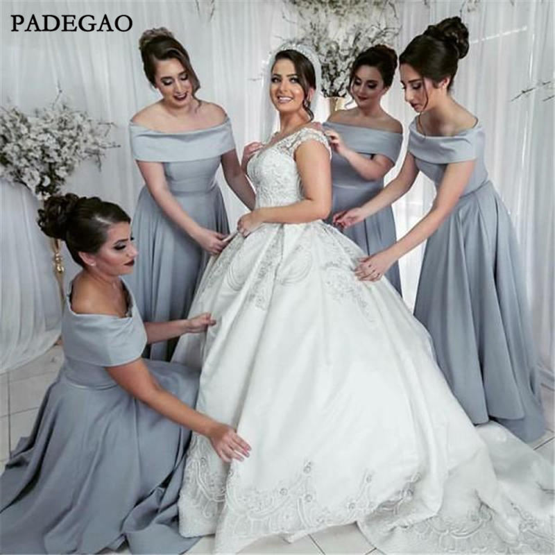 Simple Long Bridesmaids Dresses A-Line Off Shoulder Boat Neck Pleat Ruched Grey Satin Bridesmaids Dress Prom Custom Made