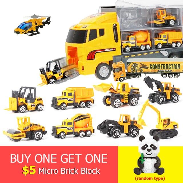 12 Buah/Set Mini Diecast Alloy Mobil 2in1 Model Teknik Kendaraan Mainan Truk Pengangkut dengan Ejeksi & Membawa Fungsi Hadiah Natal
