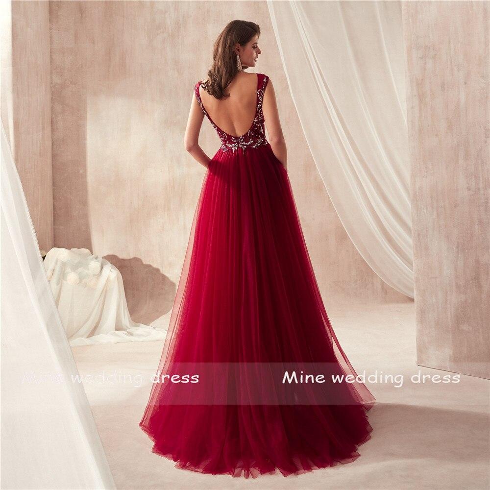 V-cou De Luxe Perles Sirène De Bal robes vin rouge/Gris Sans Manches robes de soirée Cristaux Longue robe robe de bal 2019 - 2