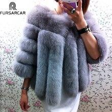 FURSARCAR Winter Natural Real Fox Fur Coat Women Whole Skin Genuine Leather Female Jacket 2017 NEW Fox Fur Short Women Fur Coat