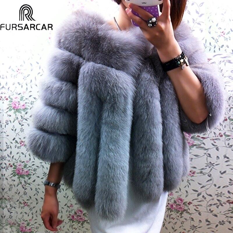 Fursarcar inverno real casaco de pele das mulheres toda a pele genuína do sexo feminino natrual casacos de pele de raposa nova moda curta pele real