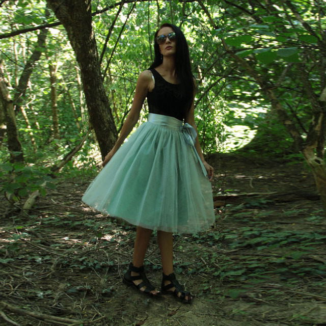 559023c22d4 Mint Green Women Tulle Skirt Plus Size Knee Length Midi Tutu Skirts for  Ladies with Sashes 2017 Spring Summer Any Color Free