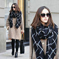 Women Scarf plaid bufandas mujer 2016 black warm scarf women winter scarves shawls stoles Blanket Scarf Luxury Brand Tassel