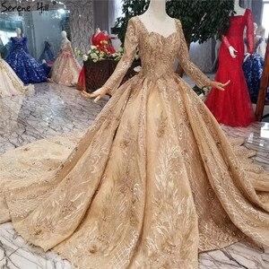 Image 3 - หรูหราทองแขนยาว High end ชุดแต่งงาน 2020 Handmade ดอกไม้ Sequined Bride ชุดแต่งงาน Real Photo CUSTOM Made