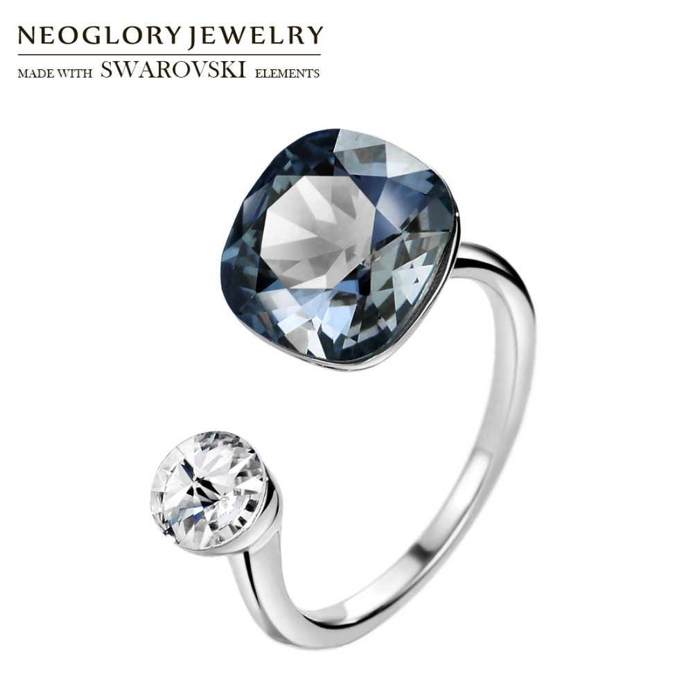 Neoglory MADE WITH SWAROVSKI ELEMENTS Crystal & Rhinestone Square Design Finger Ring Double Color For Classic Women Daily