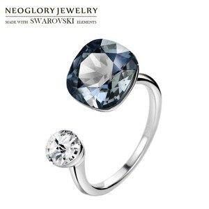 Image 1 - Neoglory crystal & rhinestone design quadrado anel de dedo cor dupla para clássico feminino embelezado com cristais de swarovski