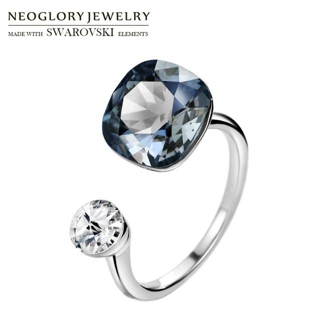 Neoglory crystal & rhinestone design quadrado anel de dedo cor dupla para clássico feminino embelezado com cristais de swarovski