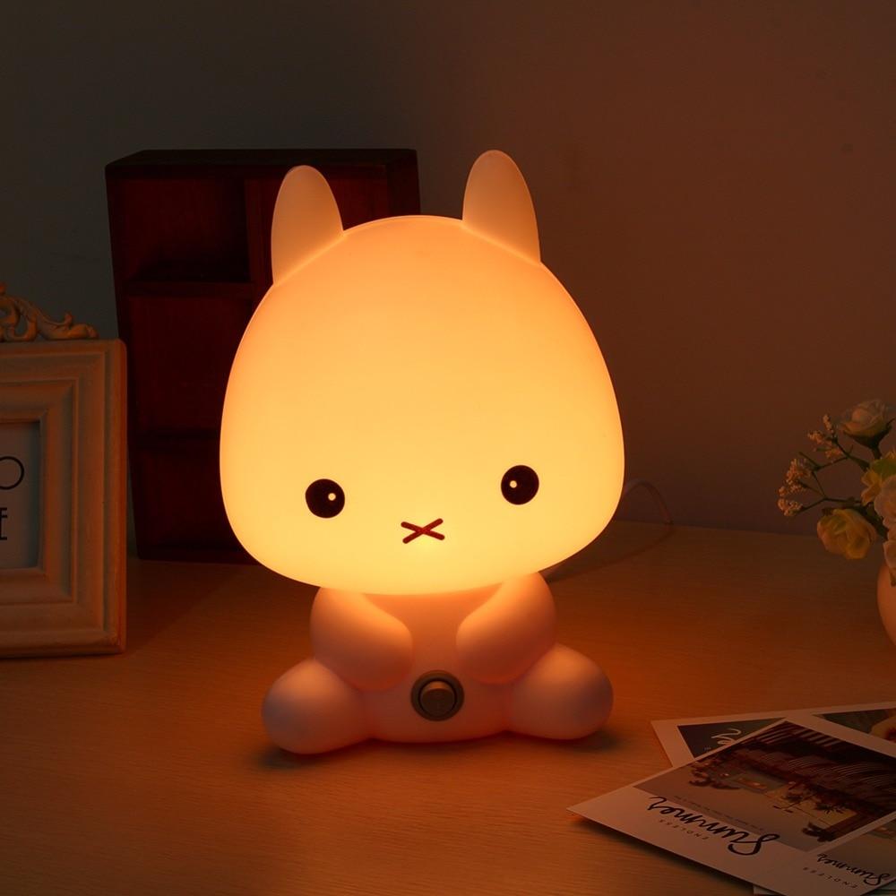 Lamps with night light - New Eu Plug Baby Bedroom Lamps Night Light Cartoon Pets Rabbit Panda Pvc Plastic Sleep Led Kid Lamp Bulb Nightlight For Children In Night Lights From Lights