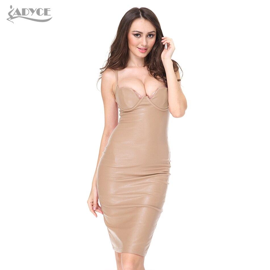 2018 Women Summer Pu Leather Dress Bustier Pencil -6960