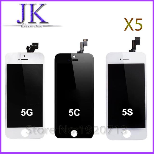 5 pcs black lcd screen display toque digitador assembléia para iphone 5 5C i5 I5C I5S 5S Substituição Outer Tela Do Painel de Toque Caso