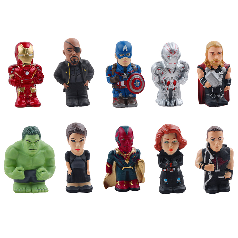 10pcs/Set Marvel The Avengers Super Heroes Thor Iron Man Hulk America Captain Action Figure Finger Puppet For Christmas Gifts  1
