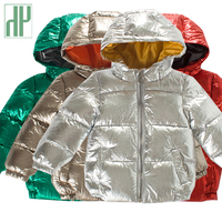 HH Baby girl winter jacket Hooded jacket for boys children's clothing thicken kids snowsuits silver down jacket outerwear coats