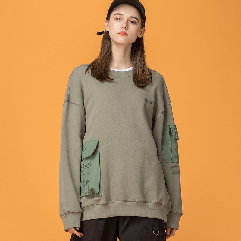 Sweat-shirt japonais Harajuku multi-poches pour femmes urbain fille Streetwear Hip Hop sweat-shirts surdimensionnés M-XXL