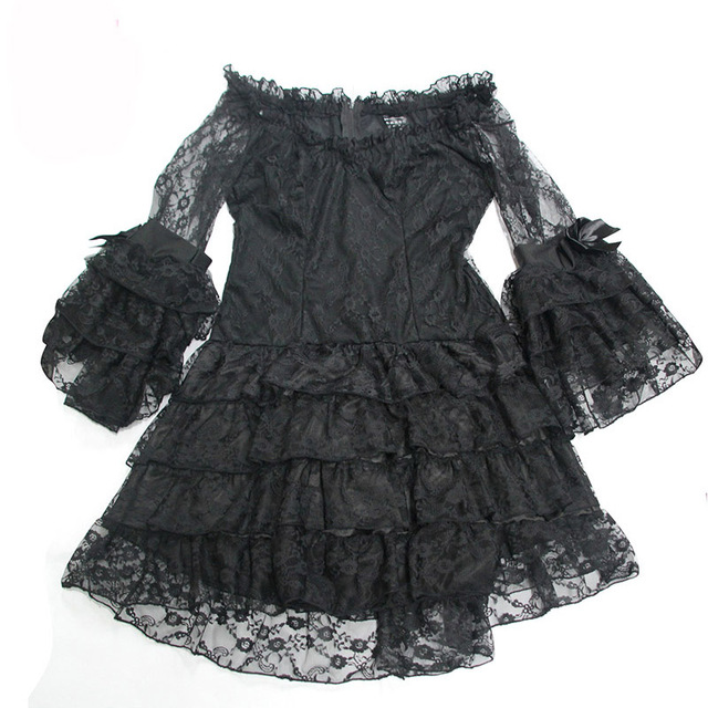 Black Layered Floral Lace Ruffles Bows Flare Sleeve ...
