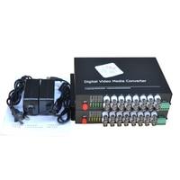 16 CH Video Fiber Optical Media Converters 16 BNC Transmitter Receiver RS485 Data Single mode 20Km For CCTV Surveillance system