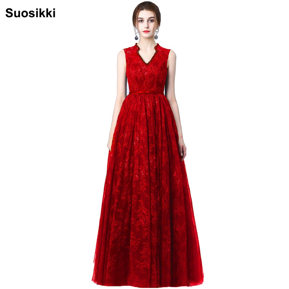 Suosikki 2017 New arrival Lace high neck   Prom     Dresses   Long open back A-line Evening party formal   dresses   gown robe de soiree