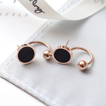 YUN RUO Fashion Stainless Steel Jewelry Rose Gold Color Black Round Ball Stud Earring for Woman Girl Gift High Polish Never Fade