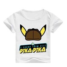 все цены на Pokemon Detective Pikachu Printed Children T-shirt Fashion Summer Short Sleeve T shirt 2019 NEW Streetwear kids T shirts