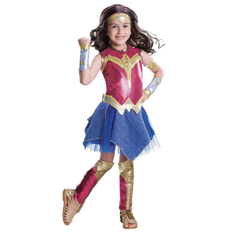 Ainiel Kids Wonder Women  Cosplay Costume Diana Princess Summer Girls Polyester Dress Carnival Halloween Party For Child Girl