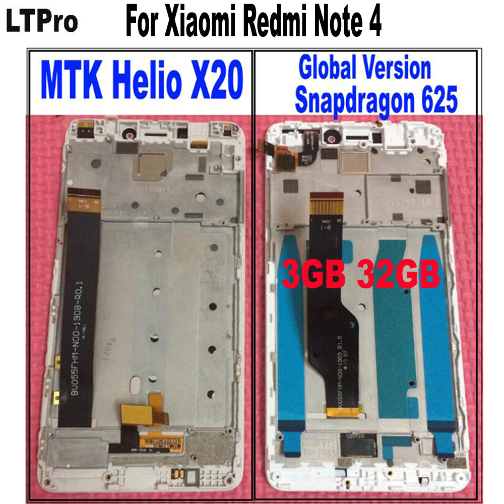 LTPro LCD Touch Screen Panel Digitizer Montage mit rahmen Für Xiaomi Redmi Hinweis 4 teil MTK Helio X20 oder Globale Version 3 GB 32 GB