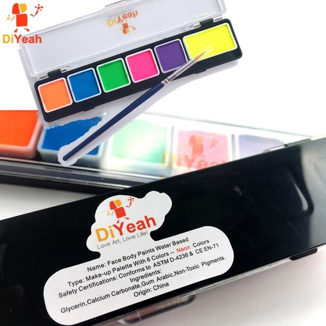 body face paint 6 colors set neon fluorescent with brush makeup