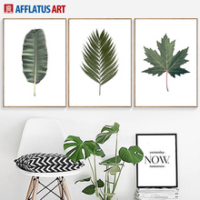 Green Big Plant Leaves Nordic Poster Wall Art Canvas Painting Posters And Prints Wall Pictures For Living Room Pop Art Decor green leaves do what you love quote nordic posters and prints wall art canvas painting plant wall pictures for living room decor