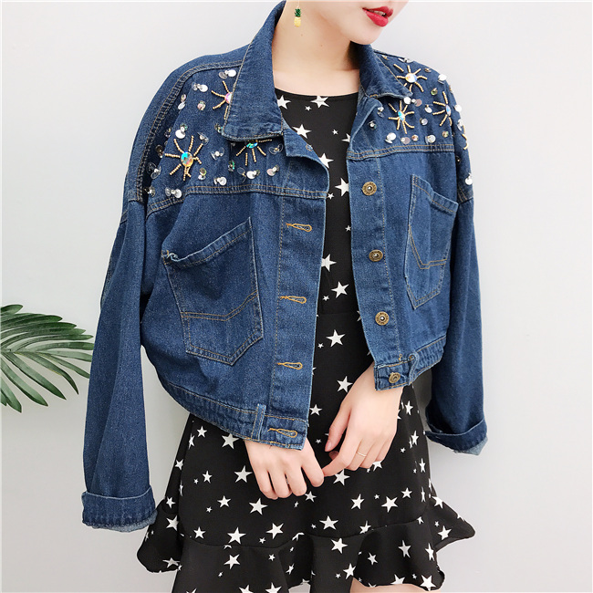 2017 spring female jean jacket casual decorated denim ...