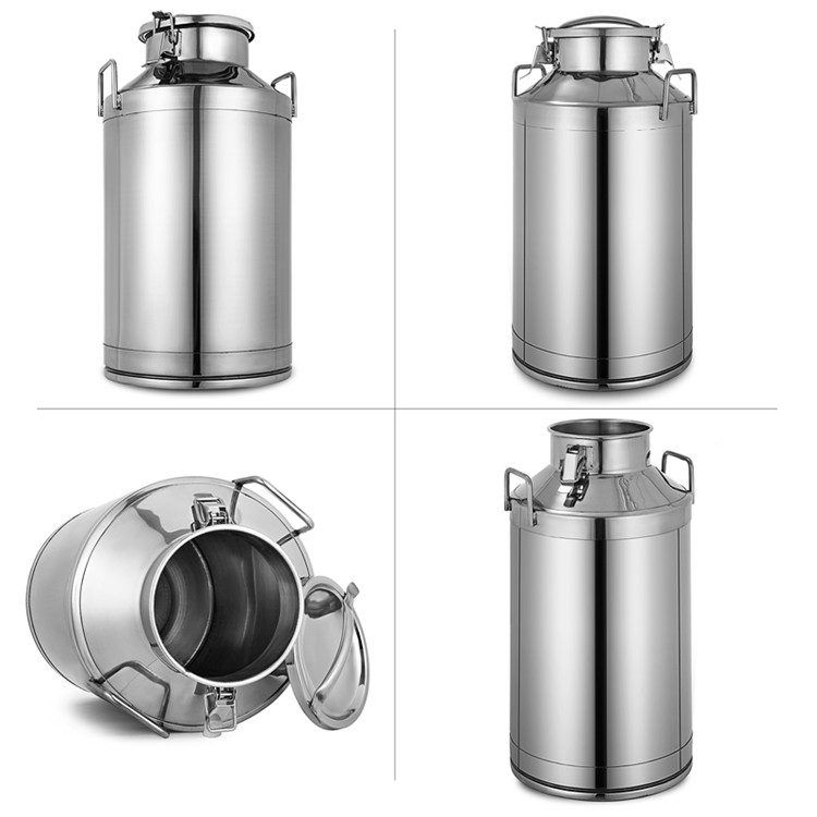 50L 13.25 Gallon Stainless Steel Milk Can Silicone Seal Tote Jug Heavy Gauge