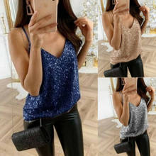 Mode Vrouwen Tank Tops Shiny paillette Vest Top Bralette Blouse Clubwear(China)