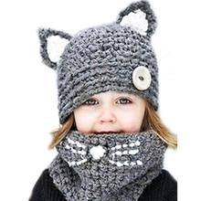 Unisex Caps Scarf Set Lovely Cartoon Animal Hats For Children Winter Hat Boy Hand Crochet Kawaii Cat Ears Knitted LIC Cap Girls