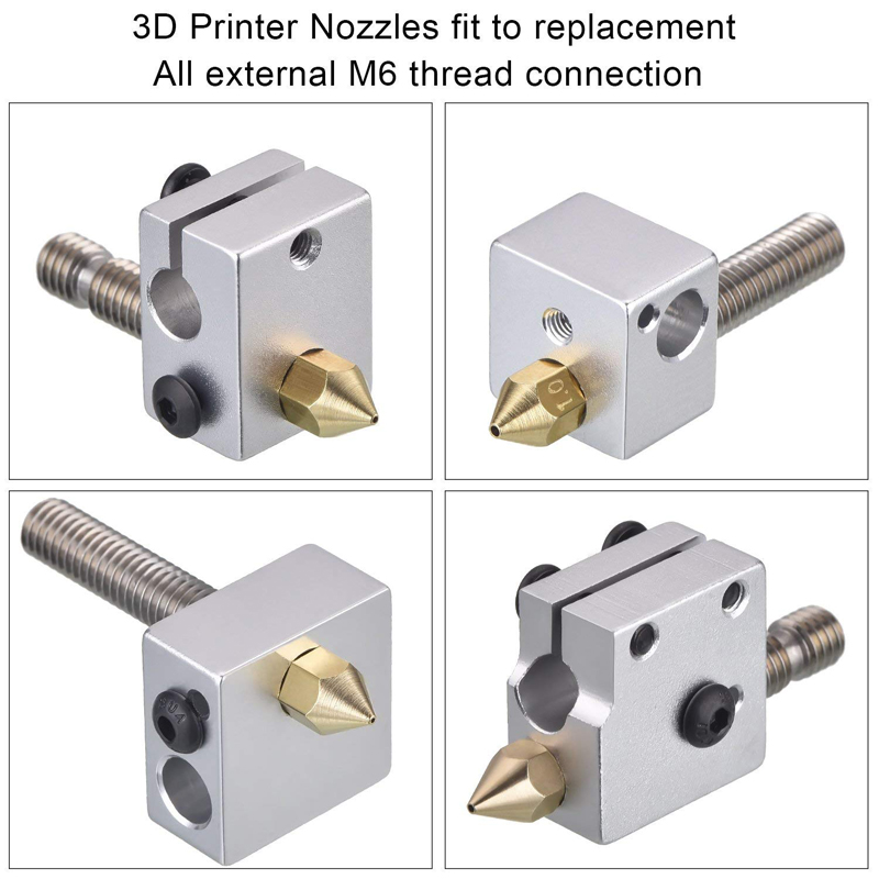 MK7 MK8 Nozzle 0.4mm 0.3mm 0.2mm 0.5mm Copper 3D Printers Parts Extruder Threaded 1.75mm 3.0mm Filament Head Brass Nozzles Part