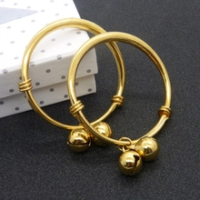 2pcs Smooth Solid Yellow Gold Filled Children's Bangle 45mm Baby Bracelet Gift