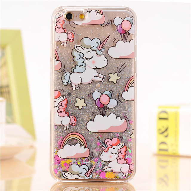 Lovely Unicorn Liquid Star Hard iPhone Case