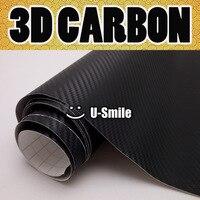 Premium Black 3D Carbon Fiber Vinyl Wrap Black Carbon Fiber Film Air Free Bubble Car Wrapping Size:1.52X30M/Roll