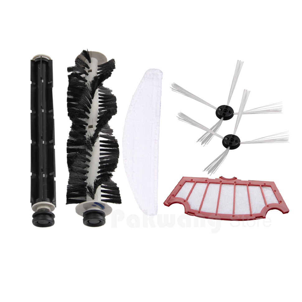 Original replacement parts for vacuum cleaner A320, rubber brush 1 pc, hair brush 1pc, mop 1pc, filter 1pc, side brush 2 pcs vacuum cleaner parts for a325 side brush hair brush mop filter